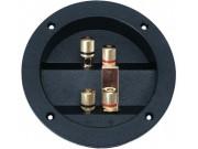 Tilslutningspanel PL8035 bi-wiring stor rund gull